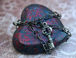 Multi Color Chained Heart by kelleejm1