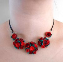 Red flower necklace by JuniperJewelry