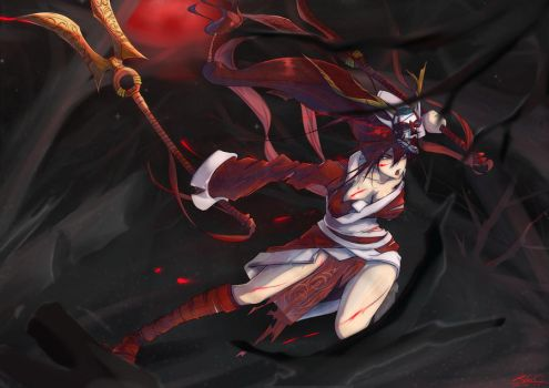 League_of_Legends - AKaLi by DeathKLovC