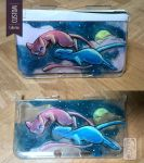 3DS xl Custom Case - Mew and Shining Mew by UmbreoNoctie