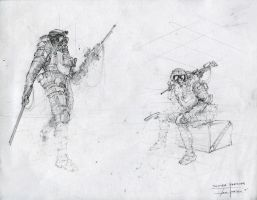 Quick Soldier Sketches by zakforeman