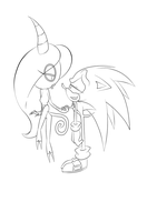 Zeena and Sonic LineArt (Incomplete) by SweetSilvy