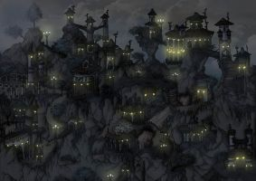 Elven Village by Night by Wings-of-Art