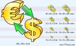 Conversion of currency Icon by money-icons