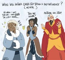 Katara is always a Bad Influence by laurbits