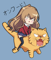 Taiga and her Tiger by TheWalrusHasSpoken