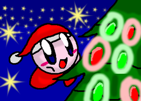 Christmas Kirby 1 by KirbyPuffball