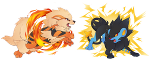 Arcanine and Luxray by Kiwiggle