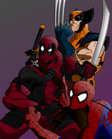 Deadpool Spidey And Wolverine..Digital inks n hues by MikeVanOrden