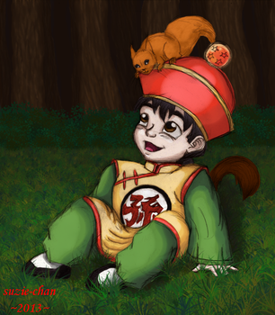 Kid Gohan and a squirrel by suzie-chan