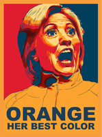 HILLARY CLINTON IN ORANGE by CaciqueCaribe