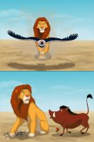 Simba and buzzard by Kivuli
