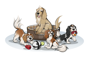 Cavalier Spaniels and Cocker Spaniel Caricatures by timmcfarlin