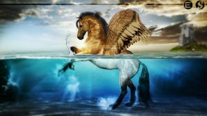 Horse Underwater // Photomanipulation by The-Art-Works