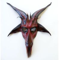 Baphomet Goat Leather Mask red black grey Teonova by teonova