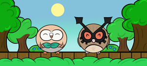 Hoothoot And Rowlet by Megalomaniacaly