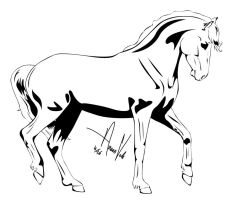 Horse Outline -- Four by Anaeo-vale