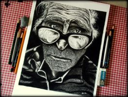 Charcoal Drawing: Face of an old man..(with tools) by Arunava-Art