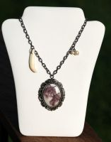 Mated Wolf Pair Cameo Necklace by kittykat01
