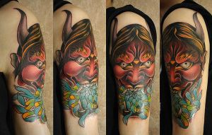 Tattoo - Hannya mask and chrysanthemum by Xenija88