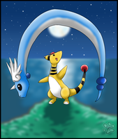 Dragonair and Ampharos :gift: by jesslyra