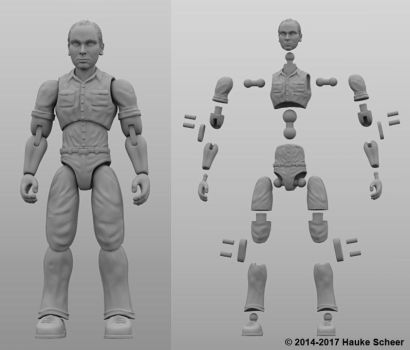 3 3/4 inch 3D printable action figure joint setup by hauke3000
