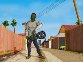 Fan Art GTA V: Franklin with minigun by Cemetpuu