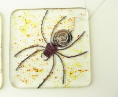 Fused Glass Spider Tile with metal inclusions by trilobiteglassworks