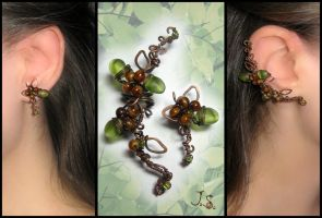 Branch of nutwood ear cuff and stud by JSjewelry