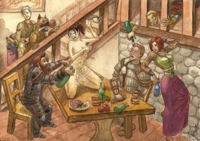 DAO commis: Ferelden's hero is celebrating victory by PiraWTH