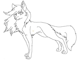Lineart wolf new 1 by raven-morticia