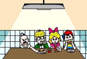 EB at restaurant coloured by mother3Flint