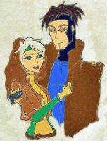 Rogue and Gambit by evangelinemariec