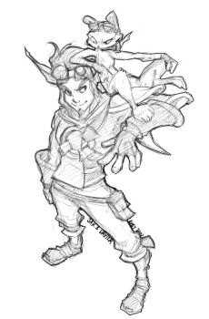 Jak and Daxter - Doodle by RubyFeather