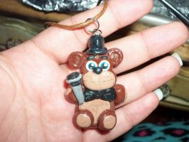 Freddy Fazbear Polymer Clay Pendant by TashaAkaTachi