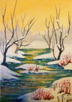ACEO Snowy Marsh by annieoakley64