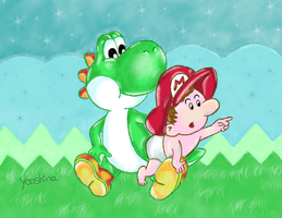 Yoshi and Baby Mario by Yooshina