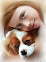A Girl and Her Dog by tizjezzme