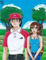 Genzo and Lily in Captain Tsubasa Road to 2002 by Lily-de-Wakabayashi