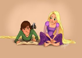 Hiccup and Rapunzel by dewdrop34