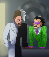 Two Face And Riddler Fighting by pink-ninja