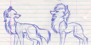 Loki and Thor as Wolves by mashaheart