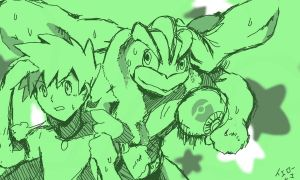 Green and Machamp Sketch by yellowhima