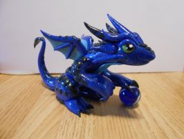 Glitter blue dragon by LegacyofanArtist