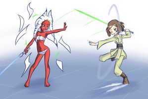 Commission: Jedi girls Fight by drantyno