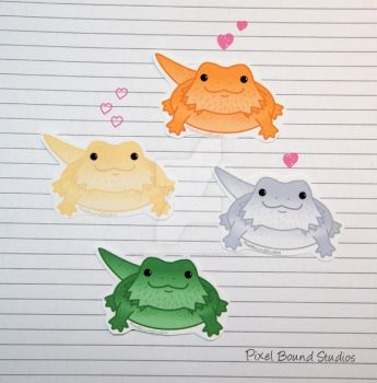 Chibi Bearded Dragon Stickers and Magnets by pixelboundstudios