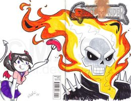 Devil Girl Meets Ghost Rider by mashi