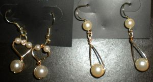 Wire and Faux Pearl Earrings by Oriana-X-Myst