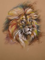 LION oil pastel by Repaul