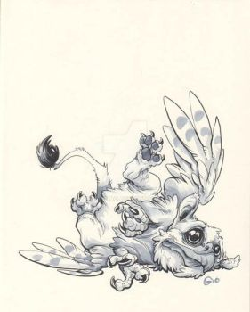 Inktober 2016 - Day 09 - Little Gryphon by giovannag